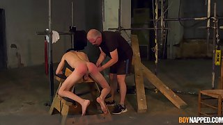 Twink endures age-old man's weasel words in brutal BDSM cam play