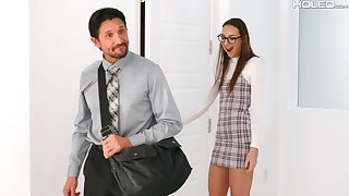 Shy Russian babe Andi Rose gets fucked in acquisitive asshole by an older man