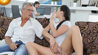 DADDY4K. Darkhaired Tot satisfies her sexual needs using fornicate