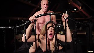 Old fucker enjoys young bitch Angie Lee in 69 and doggy positions
