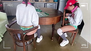 Twin Sisters pretence Scrabble peeing and swept off one's feet Stepdad ass