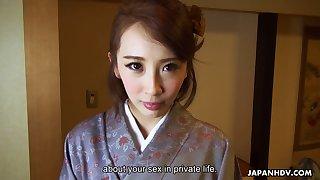 Kawaii Japanese housewife Aya Kisaki wanna get slit masturbated with vibe
