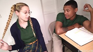 A Babe Is Dicked Down During Detention  - Interracial Sex