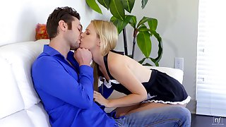 Libidinous mollycoddle relative to sexy maid uniform Kennedy Kressler is polishing boyfriend's dick