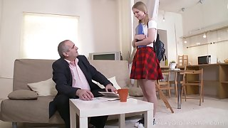 Horny old professor turns a cute coed into a ill-tempered nympho