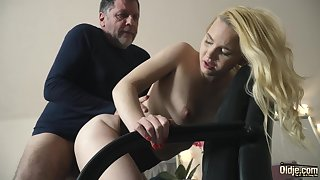 Teen on her knees sucking on grandpa load of shit deepthroat