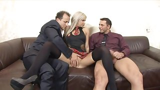Huband shares his cock hungry fair-haired become man Liana with his boss